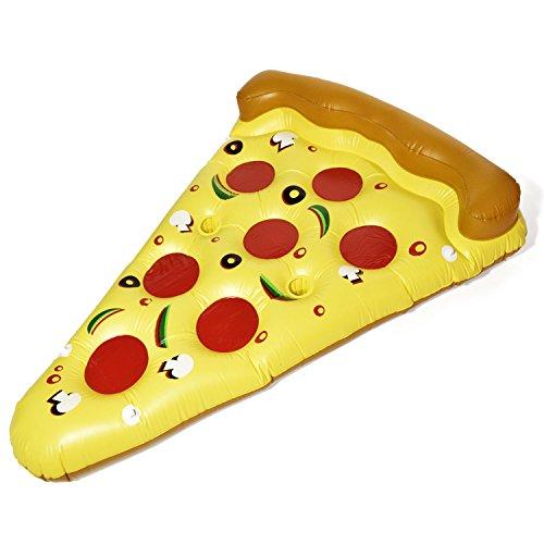GOODS+GADGETS Pizza Luftmatratze Aufblasbare Pizzastück Matratze XXL Badeinsel Schwimminsel Schwimmreifen 180x140cm