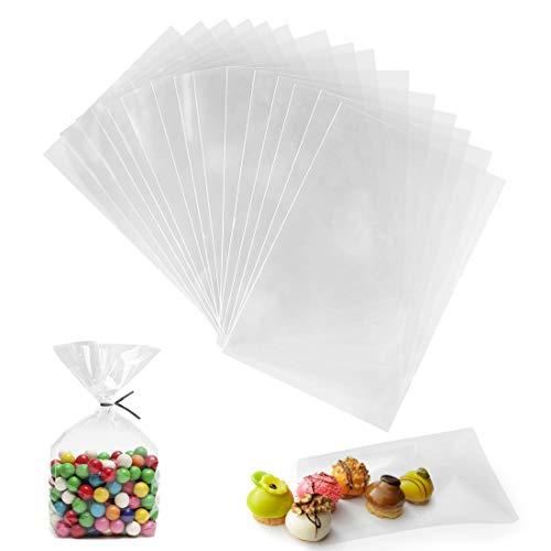 Sacchetti Cellophane, 200 PZ Sacchetti Trasparenti per Alimenti, 10 x 15 cm Sacchetti Regalo Trasparenti, Bustine Trasparenti per Caramelle Biscotti Cioccolatini