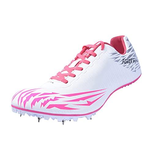 MYYU Spikes Zapatos Atletismo Zapatos Hombre De Atletismo con 8 Clavos Zapatillas De Deporte Masculino En Forma Hombres Libre Corriendo Competencia,White 2,44EU/10US
