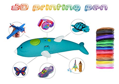 3D Printing Pen, Uppas 3D Pen for doodler/Kids with 12 Different Colour PCL filaments of 10 feet Each, Drawing Instructions Book, PVC Drawing Board, Perfect Gift/Toy for Young Adults (Blue)