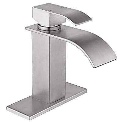 Ntipox Waterfall Spout Bathroom Faucet,Single Handle Bathroom Vanity Sink Faucet, Rv Lavatory Vessel Faucet Basin Mixer Tap with Deck Plate, Brushed Nickel (One or 3 Hole)