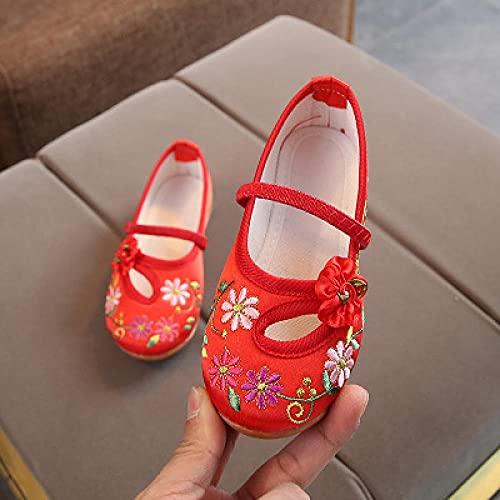 SYXYSM Zapatos Estilo Niñas Cómodas Comfort Algodón Ballet Ballet Pisos Niños Suave Mary Janes Niños Escuela de niños Zapatos de Baile Zapatos Huesos (Color : Model 2 Red, Size : 40)