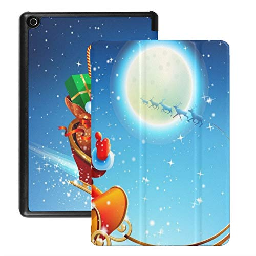 Case For Fire Hd 8 Tablet (2018/2017/2016 Release),Santa Claus Sleigh Case Cover With Auto Wake/sleep