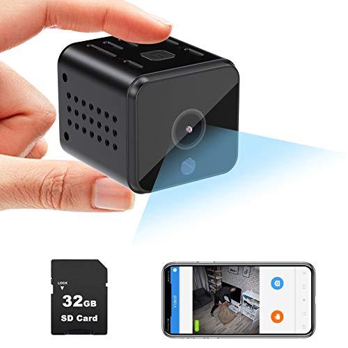 Mini Kamera, 1080P Überwachungskamera Innen mit 32GB Karte, WiFi-Kamera kann Verbindung Handy-APP, Bewegungserfassung, Daueraufnahme und IR Nachtsicht, Kleine Sicherheitskamera für Innen, Büro
