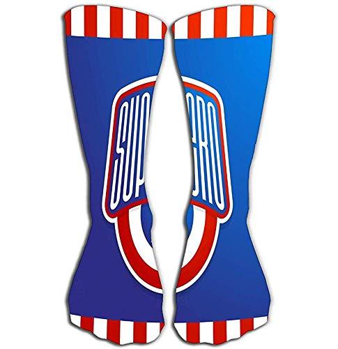 Tonesum Frauen Kniestrümpfe 50 cm athletische Socken Superheld macht volle Typografie drucken langen Buchstaben geometrischen Stil sup