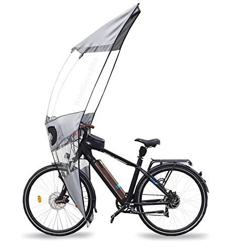 Rainrider Softtop (Grau) Die Fahrrad Regenschutz- Verkleidung für Dein e-Bike. Schützt Dich vor Regen, Nässe und Kälte, hält Dich warm und trocken.