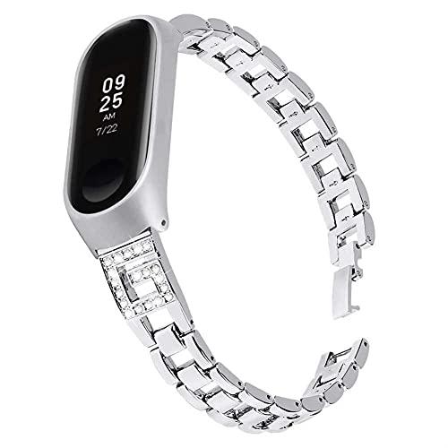 Correa De Reloj De Acero Inoxidable For MI BAND 6 5 4 3 Pulsera De Recambio Reloj De Pulsera 10688 (Color : Silver, Size : For Mi Band 6)
