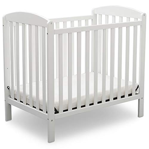 Fantastic Deal! Delta Children Emery Mini Convertible Baby Crib with Mattress, Bianca White