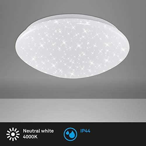 Briloner Leuchten - LED Badlampe, Deckenleuchte mit Sternendekor, IP44, 12 Watt, 1.200 Lumen, 4.000 Kelvin, Weiß, Ø 28cm, 3360-016
