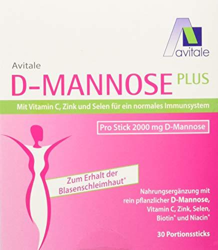 Avitale D-Mannose Plus 2000 mg Stick mit Niacin und Biotin zur Förderung der Blasenschleimhaut, 30 Stück