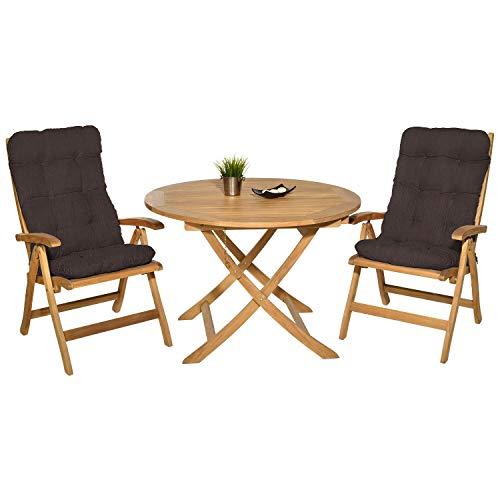 Pack 2 Cojines con Respaldo para Sillas de Jardín. Conjunto de 2 Cojines para sillones de Interior y Exterior. Cojín de Silla con Respaldo, Cojines Acolchados, mecedoras terraza. (Marrón)