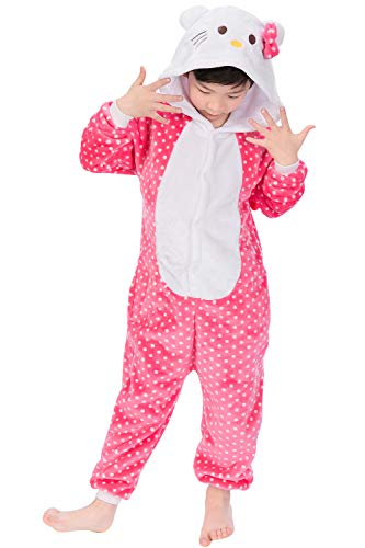"Dolamen Niños Unisexo Onesies Kigurumi Pijamas, Niña Traje Disfraz Animal Pyjamas, Ropa de Dormir Halloween Cosplay Navidad Animales de Vestuario (110-120CM (435""-47""), Hellokitty)"