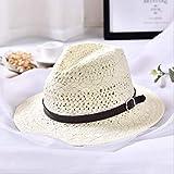 Verano Hecha a Mano para Mujer, Playa, Sombrero de Paja Boho Fedora, Sombrero para el Sol, Sombrero para el Sol, Hombres, Sombrero Casual de Jazz,Blanco Leche