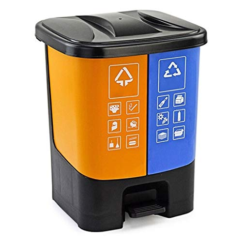 ZAZA Sortiert Mülleimer, Pedal betriebenen Doppelkästen mit Deckel, Abfall-Lagerplätze Kunststoff, for Büro-Küche Hausgewerbe (Color : Yellow+Blue-5.2Gallons)