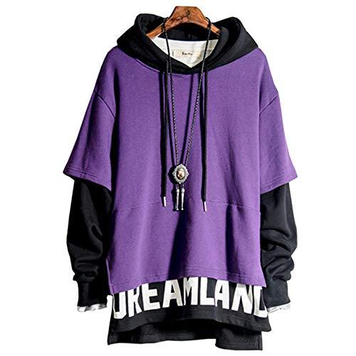 XIAOYAO Herren Kapuzenpullover Long Sleeve Sweatjacke Pullover Hoodie (Lila+Schwarz, XXL(Höhe:170-180cm Gewicht:65-75kg))