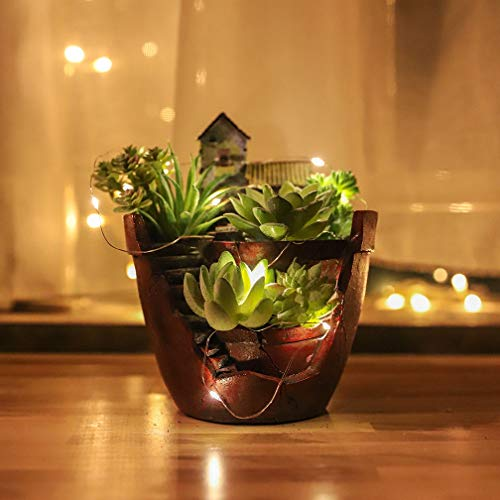 Akarden Fairy Garden, DIY Mini Succulent Pot, Fairy Design, Sweet House for Decoration,Indoor Decoration and Gift (Brick red)