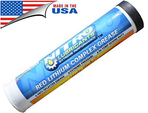 Tarantula Tools Red Lithium Complex Tube Grease for Grease Guns - Nitro Lubricants Tacky Red Lithium Heavy Duty Automotive and Industrial Grease Tubes - Great Grease for Marine Use