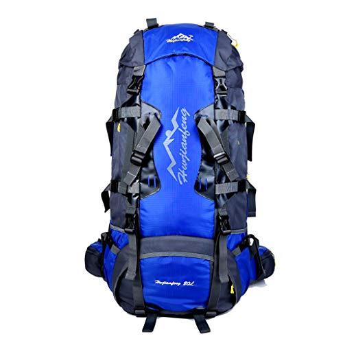 WGKUMMQN Reisrugzak, outdoor, wandelen, reizen, camping, sporttas, grote capaciteit, nylon, waterdicht, scheurvast, voor mannen en vrouwen 60L blauw