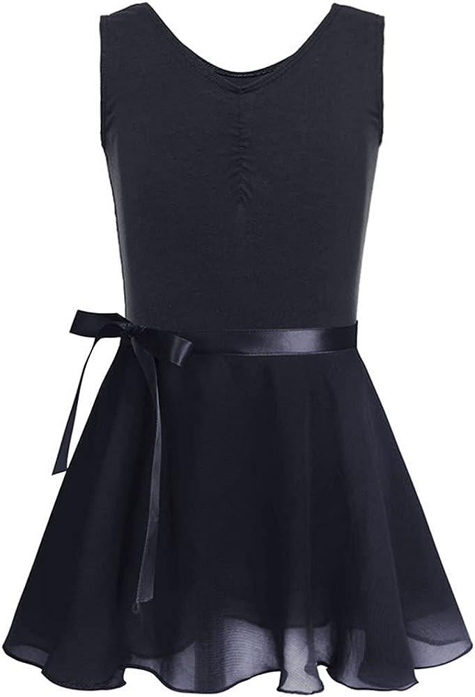 DFLYHLH Children and Teenagers Cotton Sleeveless Tutu Dress Girls Gymnastics Leotard and Chiffon Skirt Suit