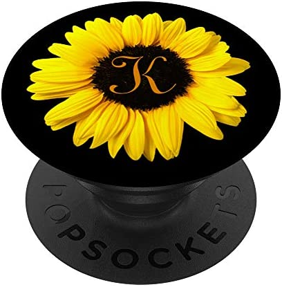 Amazon Com Cute Yellow Sunflower Flower Monogram With Letter K Initial Popsockets Popgrip Swappable Grip For Phones Tablets