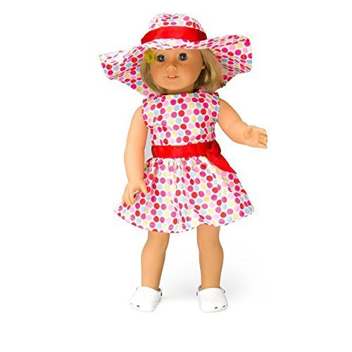 Polka Dot Dress Doll Outfit for American Girl & 18' Dolls (3 Piece Set) - Clothes Include Sun Dress, Hat, & Sandals