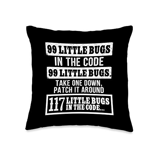 Programmer Nerd Computer Geek Coder Gifts Pillows Funny Programmer 99 Little Bugs In The Code Xmas Gift Throw Pillow, 16x16, Multicolor