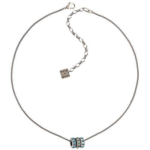 Konplott Colour Ring Kette mit Anhänger Exklusiver Designer-Modeschmuck mit Swarovski Elements | Halskette mit Glitzer-Steinen | Collier für Damen in Weiß, Blau, Rosa