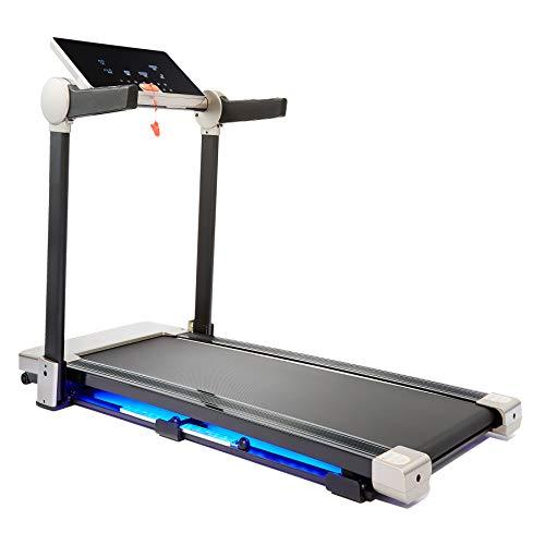 HIRAM Klappbar Laufband Elektrisches Fitnessgerät Heimtrainer bis 12 km/h Speedrunner mit APP Steuerung LCD-Display 12 Programme bis 100kg (Grau/Schwarz)