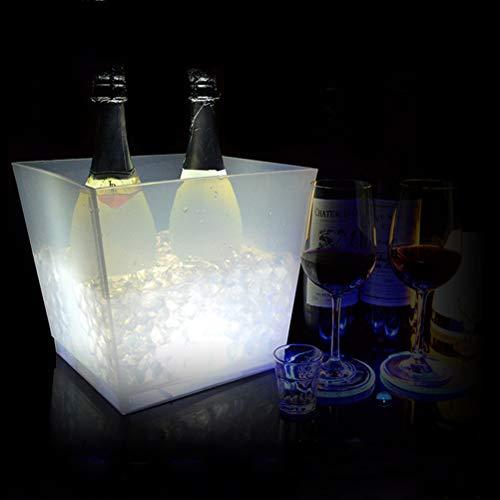 Eiskübel Beleuchtet - Eiskühler 10 L - Großer LED Sektkühler Eckig - Weinkühler - Edler Blickfang bei Jeder Party - Schönes Geburtstagsgeschenk,White