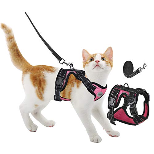 Cat Harness and Leash for Walking - Escape Proof Adjustable Safe Cat Vest Harness for Walking Outdoor - Soft Mesh Breathable Harnesses - Easy Control Reflective Strips Kitten Jacket