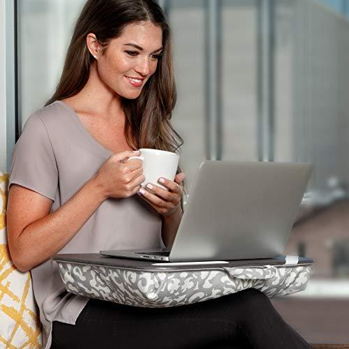 LapGear Designer Lap Desk with phone holder - Aqua Trellis - Fits up to 17.3 Inch laptops - Style No. 45512
