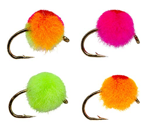 12 Glow Bug Fly/Egg Steelhead Fly Lure Assotment for Trout Fly Fishing...