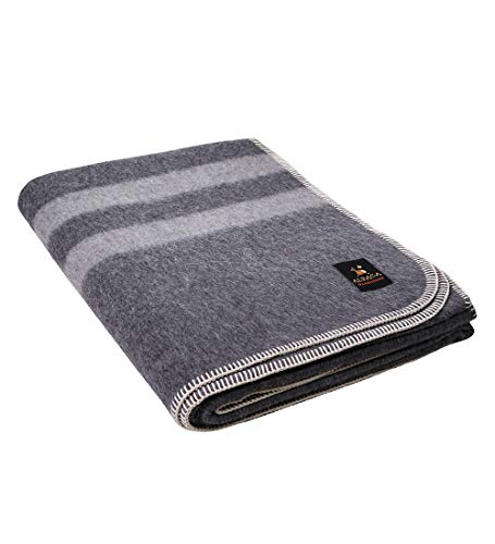 Putuco Thick Alpaca Wool Blanket (Twin, Gray - Light Gray Stripes)