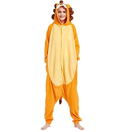 LSHEL Cosplay Jumpsuit Tier Cartoon Karneval Halloween Kostüm Fleece Overall Pyjamas Unisex Erwachsen Einteilige Pyjamas, Orange löwe, M(158-168cm)