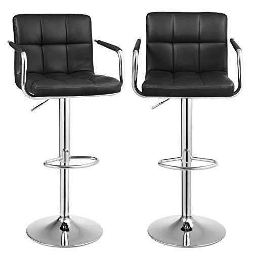 Songmics Lot de 2 Tabourets de bar haut Chaise de bar PU chrome hauteur réglable grande base Φ 41 cm LJB93B