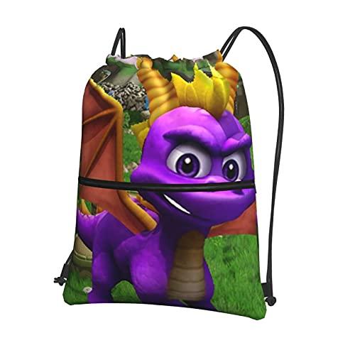 Sp-Yro The Dragon - Bolsa de deporte con cordón impermeable para gimnasio, bolsa de polietileno, mochila deportiva con cordón y bolsillo exterior con cremallera, ideal para baloncesto, fútbol