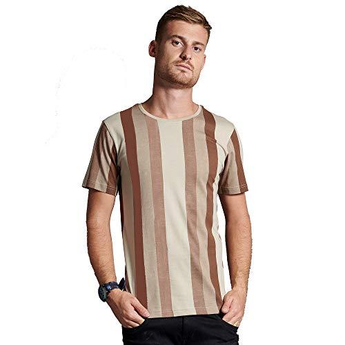 Black Snow Men's Designer Striped Round Neck T-Shirt - Beige