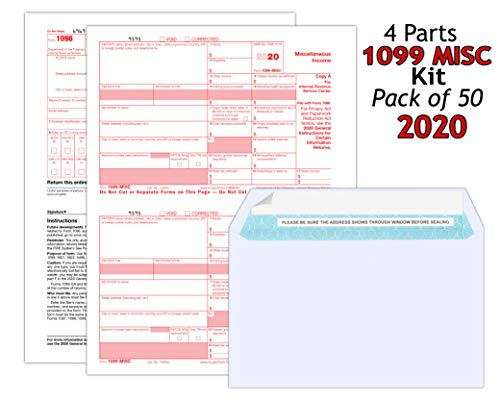 (2020) 1099 MISC Tax Forms (4-Part) Kit for 50 Employees with Self Seal Envelopes Designed for QuickBooks and Accounting Software