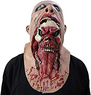 TANGGOOO Halloween Mask Scary Clown Latex Full Face Mask Big Mouth Red Hair Nose Cosplay Horror Masquerade Mask Ghost Party Holiday Must Haves Gift Wrap My Favourite Superhero Cupcake Toppers