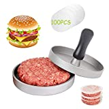 HEPAZ Pressa per Hamburger Pressa Stampa in Alluminio + 100 Carta Antiaderente,Perfetto per Hamburger,Cheeseburger,Fricadelle, Polpete,Padella,Barbecue,Antiaderente