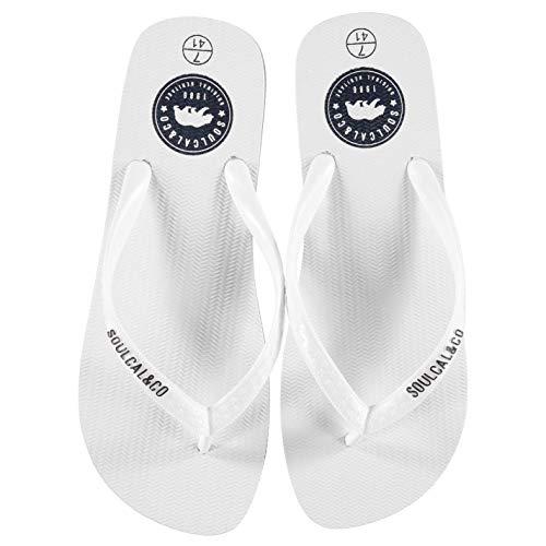 Soul Cal Maui Flip-Flops für Herren, mit Riemen, bequeme Passform, Weiß, Größe 42