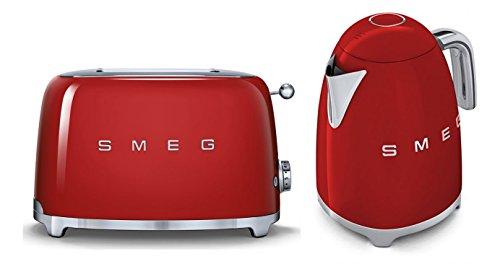Smeg TSF01RDUK KLF01RDUK | 50er Jahre Retro Style 2 Scheiben Toaster & Wasserkocher Set in rot