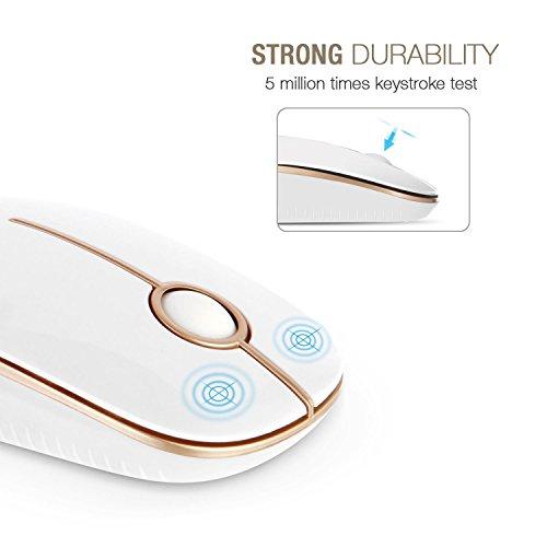 Jelly Comb Kabellose Maus, 2.4G Funkmaus Computermaus Kabellos Laptop Maus Wireless Optische Maus mit USB Nano Empfänger für Windows/Mac/Linux (Weiß und Gold)