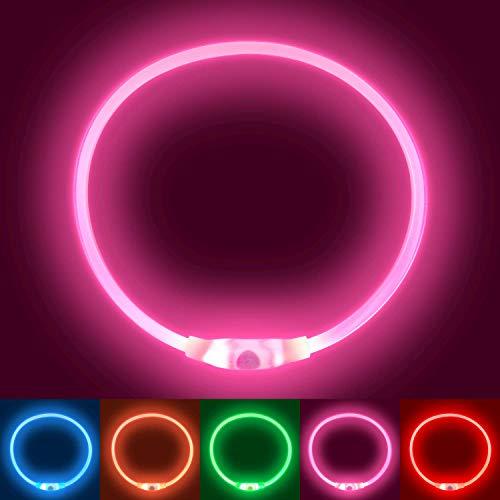 Collier Lumineux Chien Rechargeable,Collier Chien LED Lumineux, Clignotant Collier de Sécurité pour Tous Les Chiens pour Les Petits Grands Chiens de Taille Moyenne Qui Courent la Nuit (Pink)