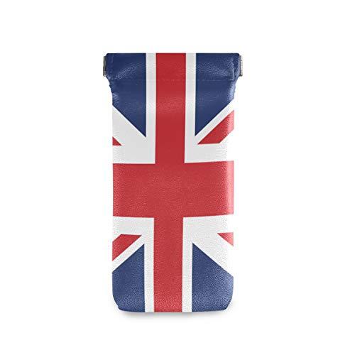 ALARGE Funda para gafas de sol con diseño de bandera británica de la bandera de Reino Unido, bolsa de gafas de piel sintética suave para niños, hombres y mujeres
