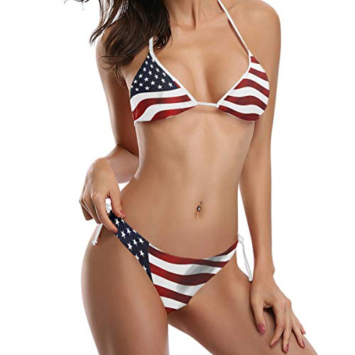 FANTAZIO Triangle Bikini Set Damen Sexy Badeanzug Amerikanische USA Flagge Gr. M, 1
