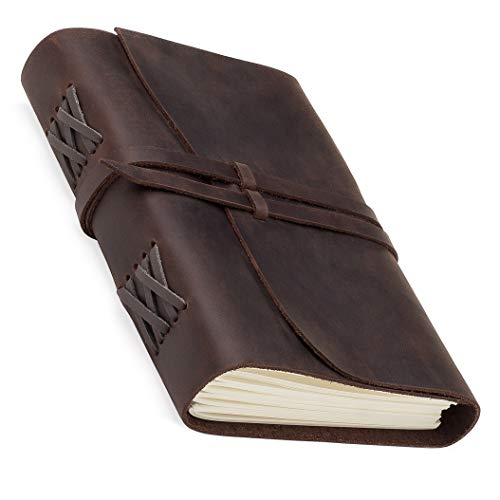Leather Journal with LINED Paper � 5.5 x 7.5 Handmade Writing Journal Notebooks, Best Refillable Leather Bound Journals for Men Women, Lined pages, Antique Vintage Diary