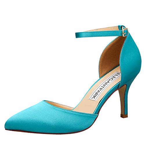 ElegantPark HC1811 Teal Heels Ankle Strap High Heels for Women Pointed Toe Shoes Satin Bridal Wedding Evening Party Prom Dress Shoes Turquoise US 8