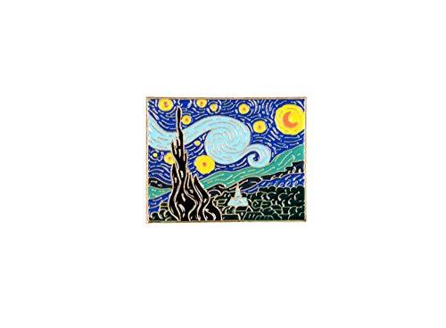 GJongie Broche Broches Arte Retro Pintura Al Óleo La Noche Estrellada Broches Pintor Van Gogh Esmalte Personalizado Broche Insignia Regalo De La Joyería para Artistas Amigos