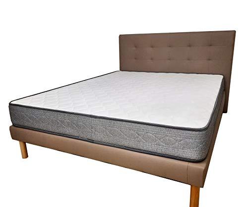 Cama de matrimonio de piel sintética gris + colchón de 20 cm Whaterfoam + juego de sábanas de algodón + sábana bajera + par de almohadas